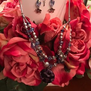 Long purple necklace and earrings set